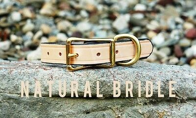 "Natural Tan Classic Leather Dog Collar Handmade Amish 1"" Brass Steel Custom Size"