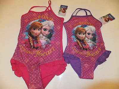Official Disney Frozen Girls Frill Detail Swimsuit - Age 3-8 Years