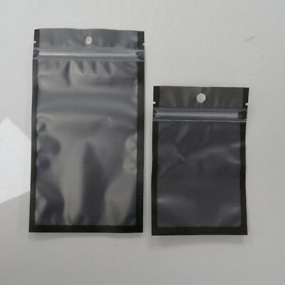 Variety of Sizes for 100 PCS Flat Clear/Black Mylar Zip Lock Bags w/ Hang Hole