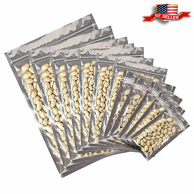 Variety of Sizes for 100 PCS Flat Clear/Silver Foil Mylar Zip Lock Bags