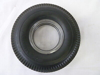 Vintage Firestone Rubber Tire with Glass Ashtray Embossed with Firestone