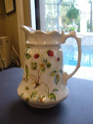 James Kent Old Foley Strawberry Pattern Pitcher 7 3/8 Tall EUC Embossedn