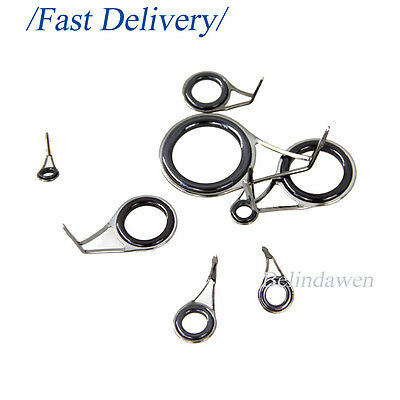 6-30# 75 PACK Fishing Rod Guides Rings Repair Kit for Casting Spinning Building