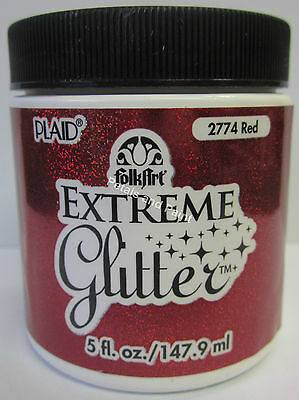 New Plaid Folk Art Extreme Red Glitter Acrylic Paint 5 fl.oz/147.9ml #2774
