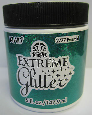 New Plaid Folk Art Extreme Emerald Glitter Acrylic Paint 5 fl.oz/147.9ml #2777