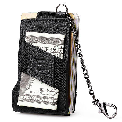 Men Real Leather Business ID Card Holder RFID Cash Magic Wallet With Key Chain