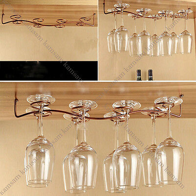 6/8 glass wine rack stemware hanging under cabinet holder w/ screw bar dining