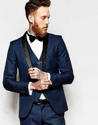 Groom Tuxedo Men's Suit Navy Blue Groomsman Bridegroom Black Lapel Wedding Suits