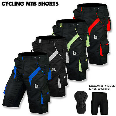 MTB Cycling Short Off Road Cycle Bicycle Padded CoolMax Liner Shorts All Sizes