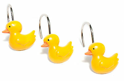 Classic Yellow Rubber Ducky Hand Crafted Bathroom Shower Curtain Hooks Set of 12