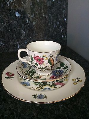Vtg Crown  Staffordshire Enameled Flowers And Bird Cup And Saucer Trio England