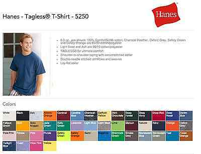 100 Hanes T-SHIRTS BLANK BULK LOT Colors or 112 White Plain S-XL Wholesale 50