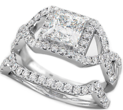 925 Silver Ladies 2 piece Wedding Engagement Princess Cut Halo Bridal Ring Set