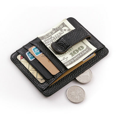 Men Real Leather Business ID Holder Spring Money Clip Wallet Strong Magnetic