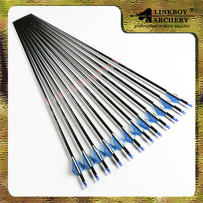 12)archery Carbon arrow with 2''fletch for compound or recurve bow spine 300