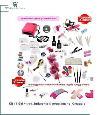 "SET RICOSTRUZIONE UNGHIE COMPLETO 11 gel uV made in germany "" KIT PROFESSIONALE"