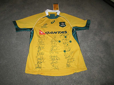 Brand New 2014 Qantas Wallabies Rugby Union Team Signed Jersey Shirt