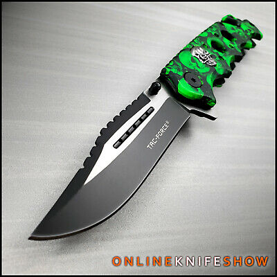 TACTICAL GREEN ZOMBIE SKULLS CAMO Spring Assisted Folding Blade Pocket Knife NEW