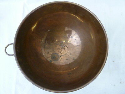 "Vintage Copper 10 1/2"" Mixing Bowl with Brass Ring Handle"