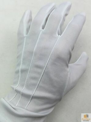 Deluxe Short White Stripe Satin Gloves Magician Driving Wedding Glove One Size