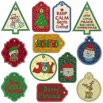 In-The-Hoop TAGS CHRISTMAS 1 Machine Applique Embroidery Patterns *12, 2 sizes