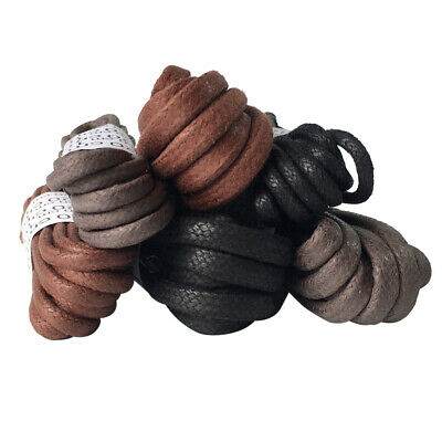 2 Pairs Waxed Cotton Round Shoe Laces Black Brown Boot Shoelaces 3mm 5mm