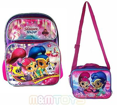 """Disney Shimmer and Shine 16"""" Large School Backpack, Lunch Bag Box"""