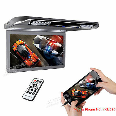 "XTRONS 13.3"" 1080P Car Roof Video Thin Digital Monitor Flip Down HDMI Games UK"