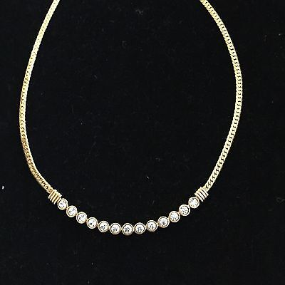 Vintage Genuine Swarovski Gold Toned With Clear Crystal Necklace