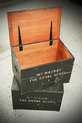 SET OF 2 Antique Early 20th Century Military Royal Scots Wooden Chest Trunk