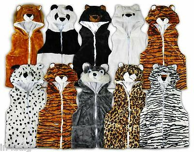 Animal Waistcoat Gillet Body Warmer  Bear Tiger Leopard Husky Childrens Boy Girl