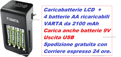 Caricabatterie+ display LCD + 4 AA Stilo ricaric. 2100 mAh VARTA carica anche 9V