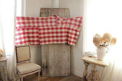 Antique French Vichy check red aged fabric material for pillows etc