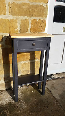 H80cm W45 D20 BESPOKE CONSOLE HALL TABLE DRAWER 2 SHELVES 2 WICKER BASKETS