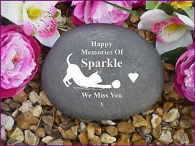 Cat Memorial - Personalised Large Pebble (Stone Effect) Weatherproof - Wool
