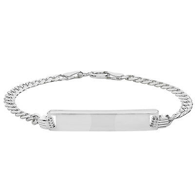 """925 Sterling Silver Baby Curb ID Bracelet Christening Gift Personalised 5.5"""""""