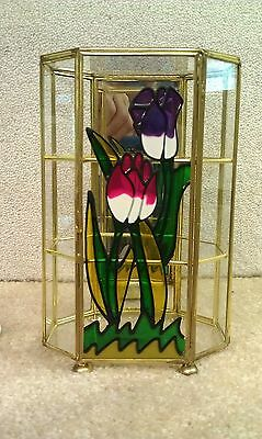 """8C38 Vtg Glass & Brass Curio Cabinet w/Stained Glass Finished Front 8 5/8"""" Tall"""