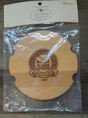 $26 Longaberger Homestead 2000 GOLF CLUB Basket Engraved Classic Stain Lid NWT