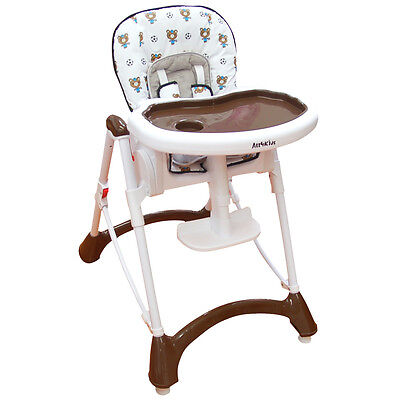 BABY Foldable Reclining HIGH CHAIR Adjustable SAFE highchair Coffee with Basket