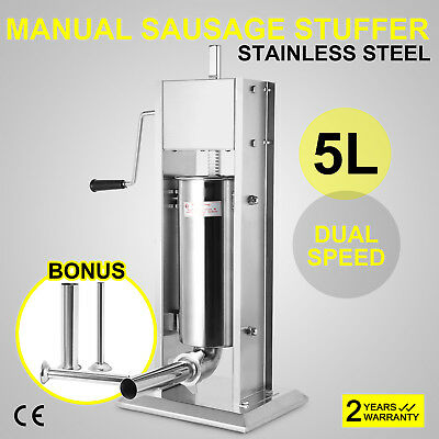 5L Dual Speed Stainless Steel Commercial Sausage Filler Meat Stuffer 15lbs