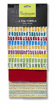 Cooksmart Seville Tea Towels Pack of 3 Drying Cloth Kitchen Cotton Multi Colour