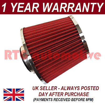 Red & Chrome Universal Performance Cone Sport Upgrade Air Filter With Adaptors