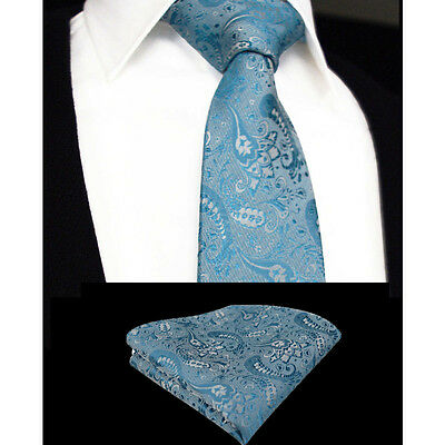 Mens Turquoise Blue Teal Green Tie Handkerchief Silk Floral Pocket Square Hanky