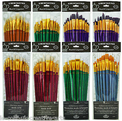 Royal Artist 12Pc Taklon Long Handle Paint Brush Sets - Acrylic Watercolour Oil