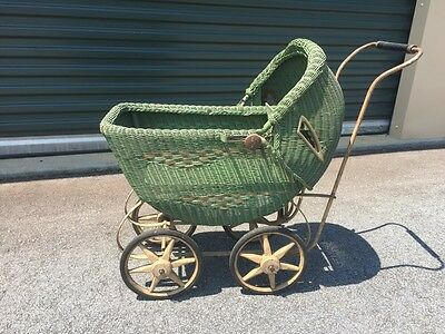 Vintage South Bend Toy Doll Carriage Stroller Wicker