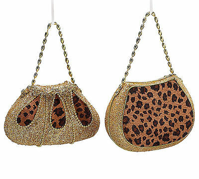 New Set of 2 Leopard Purse Christmas Tree Handbag Ornaments Gift burton+BURTON