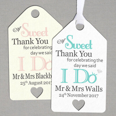 50 x Personalised Wedding Gift/Favour Vintage Luggage Tags/Labels -Sweet TG030