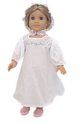 "Doll Clothes 18"" Colonial Nightgown Cap White Fits American Girl Dolls"