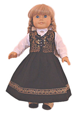 "Doll Clothes 18"" Doll Wool Dirndl Black Gold Pioneer Fits AG Doll Kirsten"