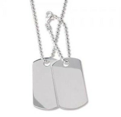 925 Sterling Silver Hallmarked Personalised Double Dog Tag 2MM Ball Chain 24.5gr